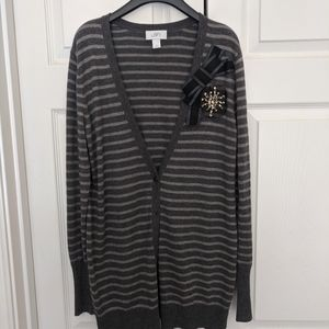 LOFT striped long cardigan